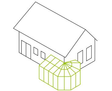 Pultdach mit Polygon- als Über-Eck-Lösung