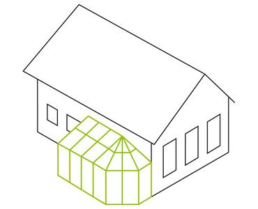 Pultdach- mit einseitigem Polygon